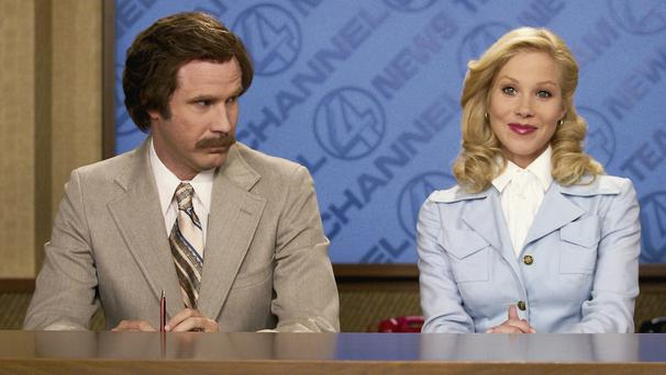 News team: Will Ferrell as Ron Burgundy and Christina Applegate as Veronica Corningstone in 'Anchorman'