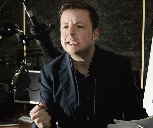 A LITTLE BIT UNCOMFORTABLE: Satirist Oliver Callan. 'RTE are great. They're just cautious,' he says of requests from Montrose that he 're-examine' his approach. Photo: Gerry Mooney
