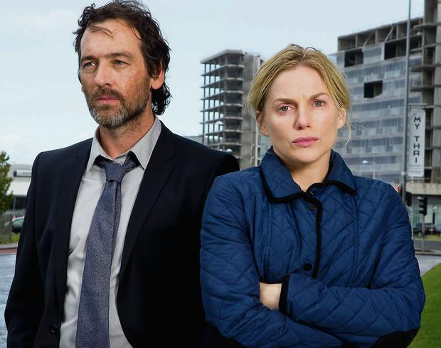 Sandyford skyline: Eva Birthistle and David Murray as Amber's estranged parents Sarah and Ben Bailey.