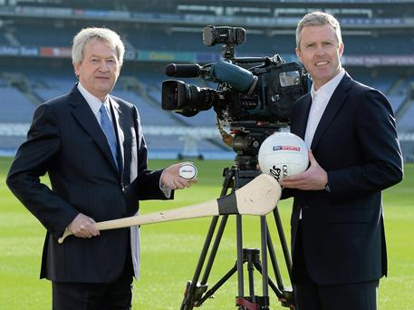 GAME ON: In attendance at the launch of the GAA's deal with Sky Sports were Ard Stiurthoir of the GAA Paraic Duffy, left, and JD Buckley, managing director, Sky Ireland at Croke Park. Photo: Brendan Moran/SPORTSFILE