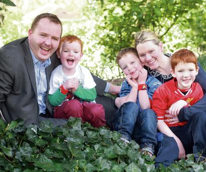 DREAM: Pierce O'Reilly and Mairead Ni Mhaoilchiarain, co-founders of Irish TV, with their kids Tomas, Chaomhain and Ruan. Photo: Ronan Lang/Feature File