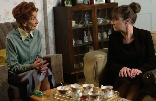 Dot Cotton (June Brown) and her estranged daughter-in-law Yvonne (Pauline McLynn, previously best known for playing Mrs Doyle in the sitcom 'Father Ted') in an upcoming scene from 'EastEnders'. Photo: Jack Barnes/BBC
