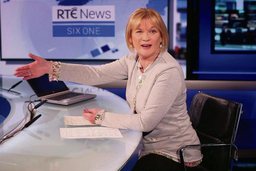 Newsreader Eileen Dunne behind her new desk. Photo: Damien Eagers
