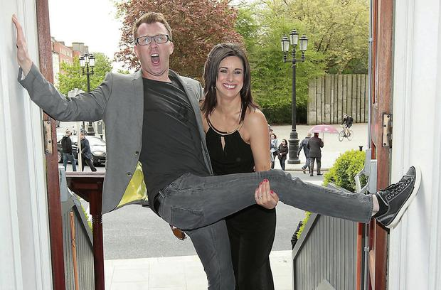 Comedian Jason Byrne and Lucy Kennedy at the launch of TV3's 2015 schedule at the Shelbourne Hotel, Dublin. Photo: Brian McEvoy