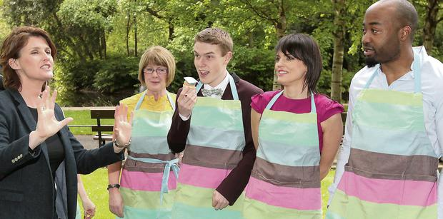 Anna Nolan with this year's bakers at St Stephen's Green, for the launch of 'The Great Irish Bake Off'