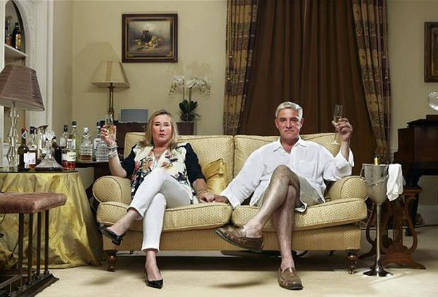 Glasses raised: Dom and Steph from Gogglebox. Photo: Channel 4.