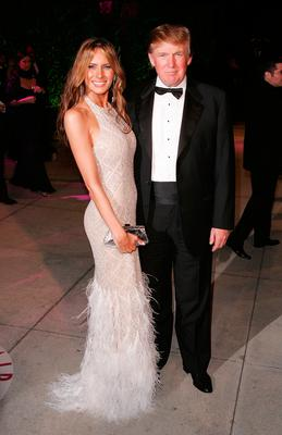 Donald Trump and Melania Trump arrive at the Vanity Fair Oscar Party at Morton's on February 27, 2005 in West Hollywood, California.  (Photo by Mark Mainz/Getty Images)