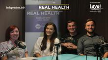 Real Health Podcast's 'Get Yourself Back on Track' episode with wellness coach, Peter Thornton, mindfulness coach, Janet Cleary, and blogger and businesswoman, Holly Carpenter.