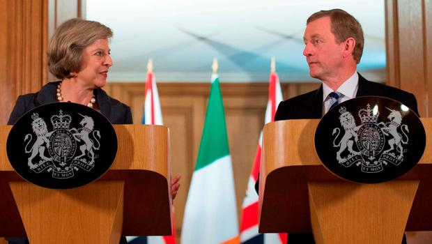 British Prime Minister Theresa May and Taoiseach Enda Kenny in 2017 Photo: Stefan Rousseau/PA Wire