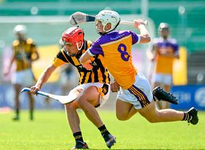 Shelmaliers' Conor Hearne in action against Josh Sheil of Faythe Harriers. Photo: Sportsfile