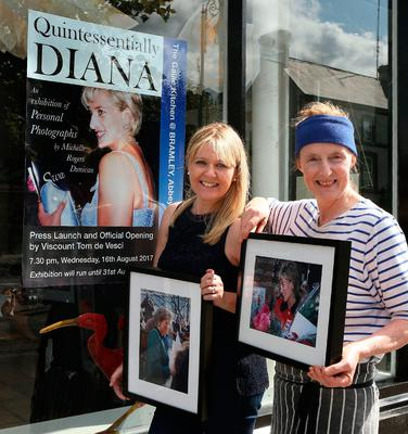Michelle Rogers Dunican (on left) with Sarah Webb, the owner of The Gallic Kitchen at Bramley in Abbeyleix, where Michelle's exhibition of photographs of Princess Diana opens today. Photo: Michael Scully