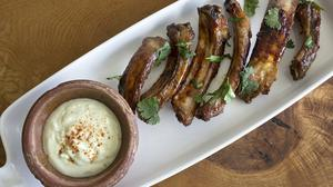 Sticky ribs with blue cheese sauce. Photo: Tony Gavin 20/5/2020