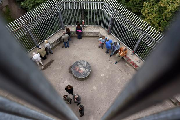 People visit the Humbolthain flak tower remains in Berlin's Wedding district. Photo: ODD ANDERSEN/AFP/Getty Images