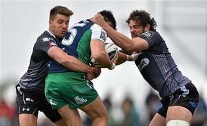Tiernan O'Halloran, Connacht, is tackled by Rhys Webb, left, and Tyler Ardron, Ospreys (Ramsey Cardy / SPORTSFILE)