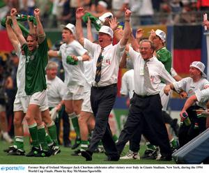 Jack Charlton celebrates after victory over Italy in Giants Stadium, New York, during the 1994 World Cup Finals. Photo by Ray McManus/Sportsfile