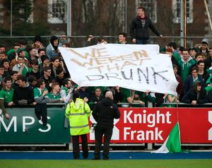 Gonzaga College supporters hold up a banner saying 'We Weren't that Drunk' during the Senior Cup Semi Final between Blackrock College and Gonzaga College at Donnybrook. Photo: Damien Eagers