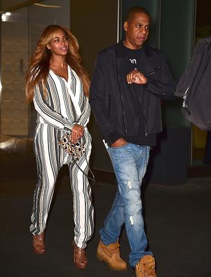 Beyonce Knowles and Jay Z are seen in Midtown