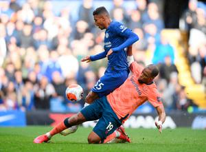 Tino Anjorin of Chelsea is ctakled by Djibril Sidibe of Everton. Photo by Mike Hewitt/Getty Images