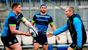 Leinster senior coach Stuart Lancaster (right) putting Tadhg Furlong through his paces during Leinster squad training at Energia Park in Donnybrook yesterday with Jamison Gibson-Park (centre) watching on. Photo: Ramsey Cardy/Sportsfile