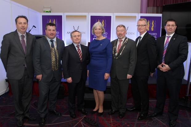 Padraig O'Gorman Wexford County Council, Cllr George Lawlor Mayor of Wexford, Minister Brendan Howlin, Madeleine Quirke CEO Wexford Chamber, Martin Doyle President Wexford Chamber, Ian Talbot CEO Chambers Ireland and Karl Fitzpatrick Wexford Chamber at the Wexford Business Expo in Whites Hotel.