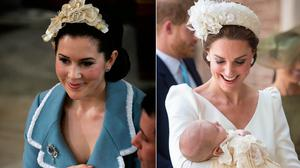 Denmark's Princess Mary in 2006, left, and Britain's Duchess of Cambridge in 2018, right