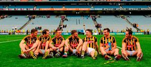 Kilkenny players, from left to right, Joe Lyng, Padraig Walsh, Cillian Buckley, Conor Fogarty, Paul Murphy, Kieran Joyce and Ger Aylward reflect on their team's victory after the match on Sunday