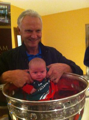Jeanette Walsh's 5 week old niece Lucy Duffy in her signed mayo jersey & her grandfather Michael Walsh from Claremorris.