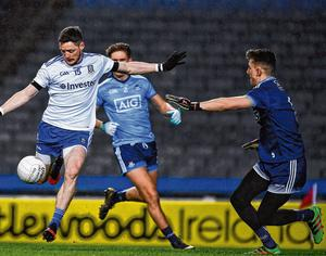 Monaghan's Conor McManus shoots past Evan Comerford in the Dublin goal during their February league match.Imagine the excitement a first-round championship match between the two would generate. Photo: Ray McManus/Sportsfile