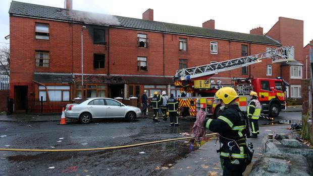 The scene of the fire at The Gloucester Place this morning.
