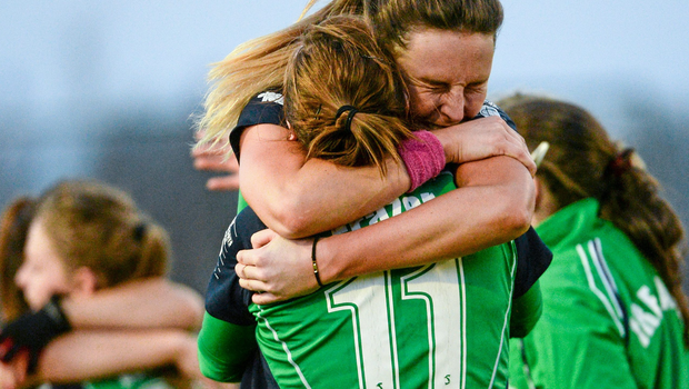 Ireland's Nicola Evans and Megan Frazer. The 2-0 over the USA sees Ireland top Pool B and qualify for the quarter-finals of the World Hockey League with one game remaining.