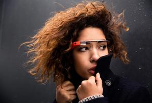 Model wears Google Glass