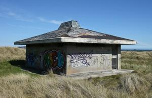 The disused toilet block in the sand dunes next to Dollymount beach