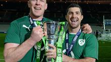 Ireland players Paul O'Connell, left and Rob Kearney celebrate winning the 2014 RBS six nations championship after beating France