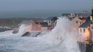 Brewing up a storm: Storm Eleanor hits Lahinch, Co Clare, last January. Photo: Press 22