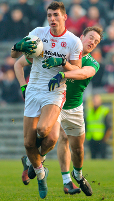 Tyrone's Padraig McNulty in action against Fermanagh's Lee Cullen. Photo:  Oliver McVeigh/Sportsfile