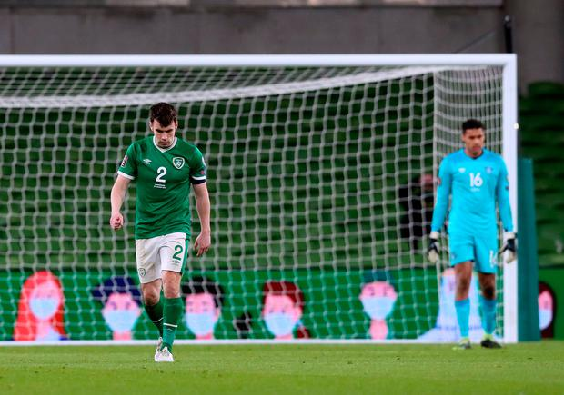 Ireland's Seamus Coleman (left) appears dejected after Luxembourg's Gerson Rodrigues scores their side's first goal of the game