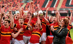 Eoin Monahan, CBC, lifts the SEAT Munster Schools Junior Cup