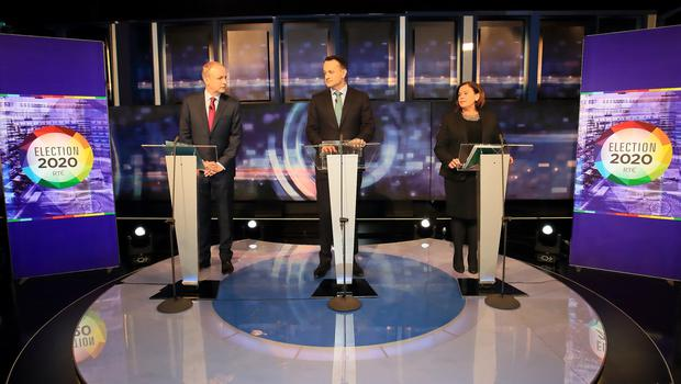 Fianna Fáil Leader Micheál Martin pictured with Taoiseach and Leader of Fine Gael Leo varadkar and Sinn Féin Leader Mary Lou McDonald on set before the start of the Prime Time Leaders Debate in RTE.Picture Credit:Frank McGrath 4/2/20