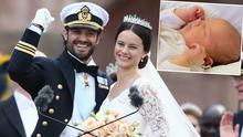 Prince Carl and Princess Sofia of Sweden and (inset) is a picture of Prince Alexander Erik Hubertus Bertil
