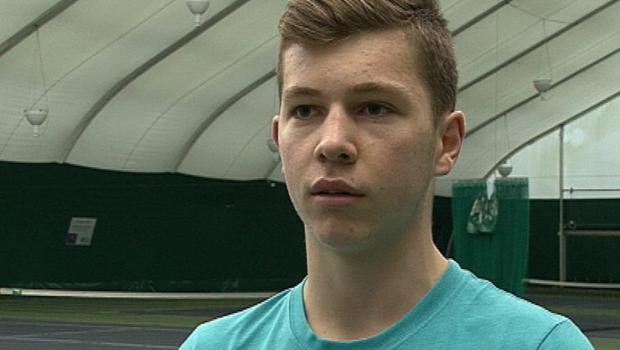 Simon Carr is hoping to become a pro tennis player
