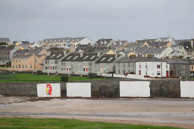 Empty streets in Kilkee, Ireland as Hurricane Ophelia hits the UK and Ireland with gusts of up to 80mph. Photo: Niall Carson/PA Wire