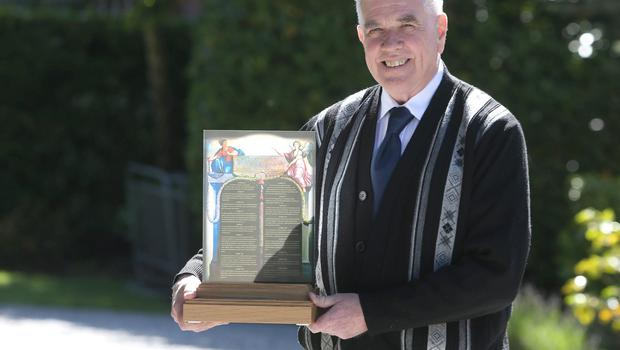 Fr Peter Mcverry who was presented with the French Human Rights Prize by French Ambassador to Ireland, Jean Pierre Thebault at the french embassy. Picture credit; Damien Eagers 23/6/2015
