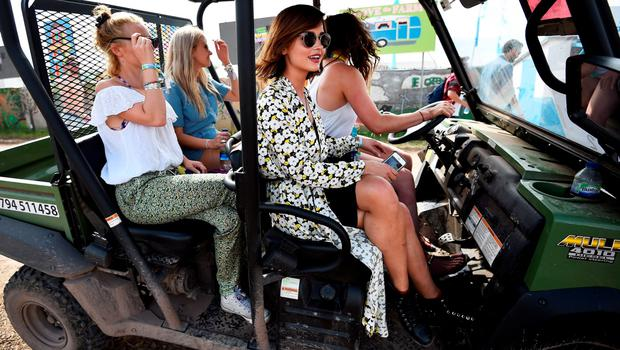 Britain's Jenna Coleman arrives at Worthy Farm in Somerset during the Glastonbury Festival in Britain, June 27, 2015.  REUTERS/Dylan Martinez