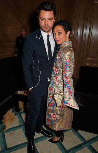 Dominic Cooper (L) and Ruth Negga attend Harper's Bazaar Women of the Year Awards in association with Ralph & Russo, Audemars Piguet and Mercedes-Benz at Claridge's Hotel on November 2, 2017 in London, England.  (Photo by David M. Benett/Dave Benett/Getty Images for Harper's Bazaar )