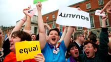 Yes voters celebrate at the Central Count Centre in Dublin castle, Dublin (Brian Lawless/PA Wire)