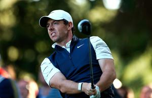 Rory McIlroy tees off the 16th during day two of the BMW PGA Championship at Wentworth Golf Club, Surrey. Photo: Bradley Collyer/PA Wire
