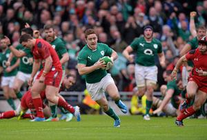 Ireland's Paddy Jackson on his way to scoring his side's second try against Wales at the Aviva Stadium