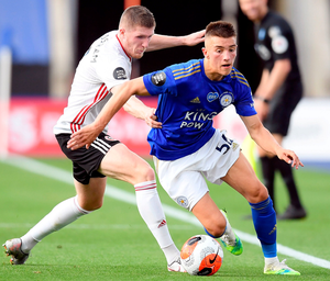 Sheffield United's John Lundstram and Leicester City's Luke Thomas. Photo: PA