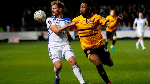 Leicester City's Marc Albrighton in action with Newport County's Antoine Semenyo. Photo: Carl Recine/Action Images via Reuters