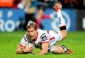 Ulster's Andrew Trimble scores his side's first try of the game. John Dickson / SPORTSFILE